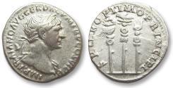Ancient Coins - AR denarius Trajan / Trajanus, Rome 113-114 A.D. -- military standards --