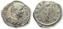 Ancient Coins - AR denarius Geta as caesar, Rome 200-205 A.D. -- PONTIF COS --