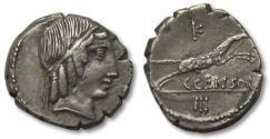 Ancient Coins - AR denarius C. Marcius Censorinus, Rome 88 B.C. -- great strike for the type --