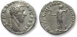 Ancient Coins - AR denarius Commodus, Rome 184 A.D. -- BRIT title, Roma standing left --