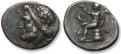 Ancient Coins - AR triobol Arkadia, Megalopolis 175-168 B.C. -- Ex Seaby & quite beautiful --