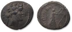 Ancient Coins - AR denarius C. Vibius C. f. C. n. Pansa Caetronianus, Rome 48 B.C. - very nice darkgrey toning -