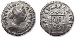 Ancient Coins - AR denarius Faustina II Junior, Rome mint 161-175 A.D. - SAECVLI FELICIT, pulvinar with children Commodus & Antoninus -