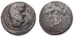 Ancient Coins - AR Denarius, L. Titurius L.f. Sabinus, Rome 89 B.C - the death of Tarpeia, large flan with complete design -