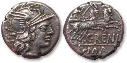Ancient Coins - AR denarius C. Renius, Rome 138 B.C.