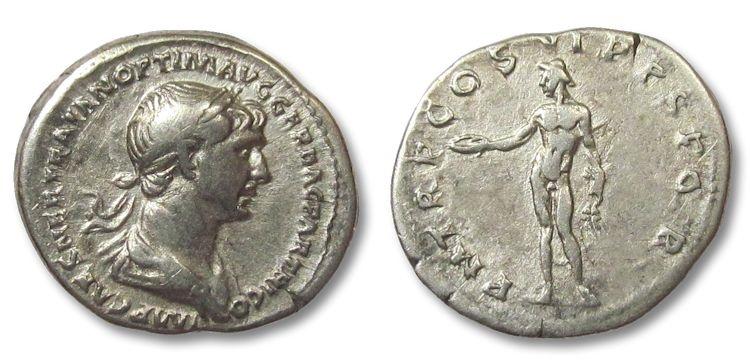 Ancient Coins - HS: AR denarius Trajan / Trajanus, Genius standing left, 115-116 A.D.
