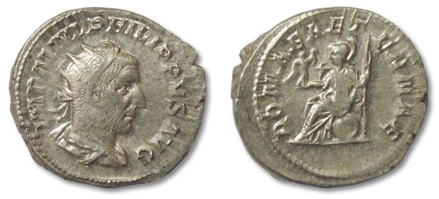 Ancient Coins - AR antoninianus Philip I the Arab, Rome 244-249 A.D. --ROMA AETERNAE--