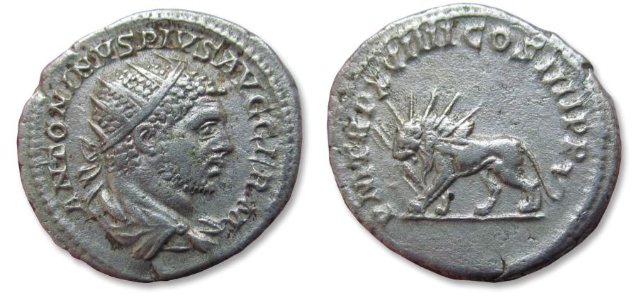 Ancient Coins - AR antoninianus Caracalla, Rome mint 216 A.D. - lion left, holding thunderbolt in jaw
