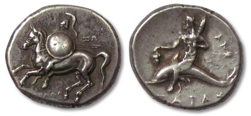 Ancient Coins - AR Nomos / Didrachm, Calabria - Tarentum 281-272 B.C.