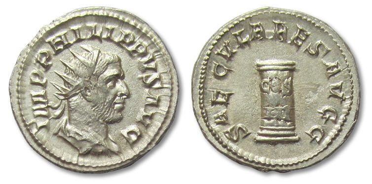Ancient Coins - AR antoninianus Philip I the Arab, Rome 248 A.D.-- EF condition --