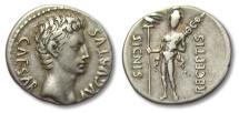Ancient Coins - AR denarius Octavian / Octavianus Augustus,Colonia Caesaraugusta (?) 19 B.C.