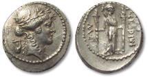 Ancient Coins - AR denarius P. Clodius M.f. Turrinus, Rome 42 B.C.