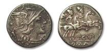 Ancient Coins - HS: AR denarius L. Cupienus, Rome 147 B.C.