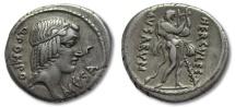 AR denarius Q. Pomponius Musa, Rome 66 B.C. -- HERCVLES MVSARVM --