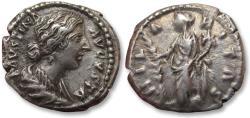 Ancient Coins - AR Denarius, Faustina II Junior (struck under Marcus Aurelius), Rome 161-175 A.D. - HILARITAS, Hilaritas standing left -
