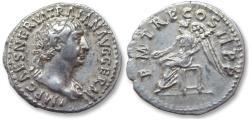 Ancient Coins - AR denarius Trajan / Trajanus, Rome 98-99 A.D. - P M TR P COS II P P, Victory seated left, rare type