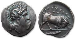 Ancient Coins - AR stater Southern Lucania, Thurium / Thourioi. 400-350 B.C. - superb reverse, blue irridescent toning -