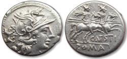 Ancient Coins - AR Denarius, C. Antestius, Rome 146 B.C. - beautiful condition, dog symbol on obverse -