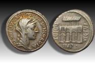 Ancient Coins - AR Denarius, P. Fonteius P.f. Capito. Rome 55 B.C. - VILLA PVBLICA, gold toning on obverse -