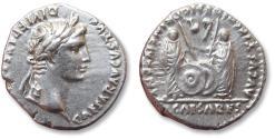Ancient Coins - AR denarius Octavian as Augustus, Lyon / Lugdunum mint circa 2 B.C. - 4 A.D.