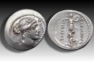 Ancient Coins - AR denarius C. Memmius C.f., Rome 56 B.C. - with some luster in fields of reverse -