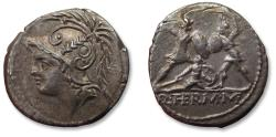 Ancient Coins - AR denarius, Q. Minucius Thermus. Rome, 103 B.C. - nicely centered and beautifully toned -