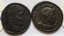 Ancient Coins - Group of 2 Æ Folles Constantine I 306-337 AD - great quality, with original sales tickets, Trier & Antioch mints
