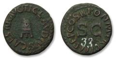Ancient Coins - AE Quadrans struck under emperor Claudius - Rome mint 42 A.D. - modius on three legs, with old inventory number on reverse -