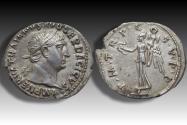 Ancient Coins - AR denarius Trajan / Trajanus, Rome 103-111 A.D. - P M TR P COS V P P, Victory walking left -