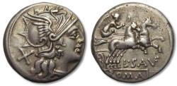 Ancient Coins - AR denarius L. Saufeius, Rome 152 B.C.