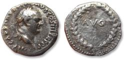 Ancient Coins - AR denarius Vespasian / Vespasianus, Ephesus mint 71 A.D. - AVG within laurel wreath -