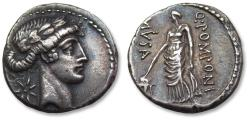 Ancient Coins - AR denarius Q. Pomponius Musa, Rome 66 B.C. - Urania, the Muse of Astronomy -
