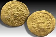Ancient Coins - Gold Tremissis Heraclius, Constantinople mint AD 610-613 - great portrait -