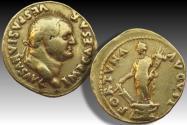 AV gold aureus Vespasian / Vespasianus, Rome mint 74 A.D. - FORTVNA AVGVST reverse -