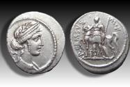 Ancient Coins - AR denarius P. Licinius M.f. Crassus, Rome 55 B.C. -- nicely struck example of this type --