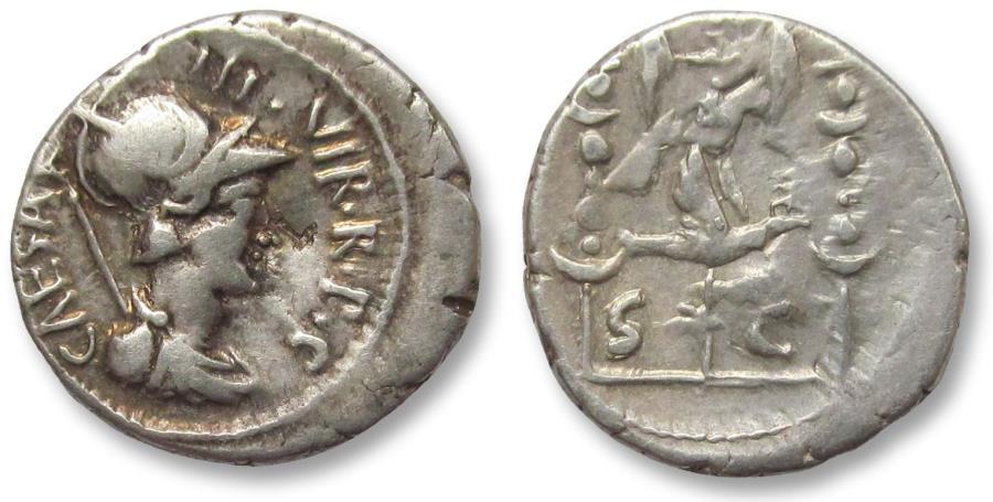 Ancient Coins - AR denarius Octavian, military mint moving with Octavian in Greece 42 B.C.