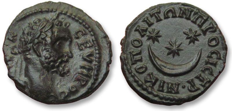 Ancient Coins - AE 17 (assarion) Septimius Severus, - Nikopolis ad Istrum 193-211 A.D. -- mint state coin --