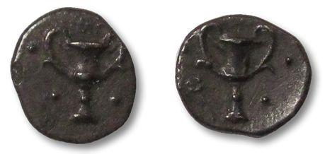 Ancient Coins - AR obol Calabria, Tarentum 302-228 B.C. --tiny coin--