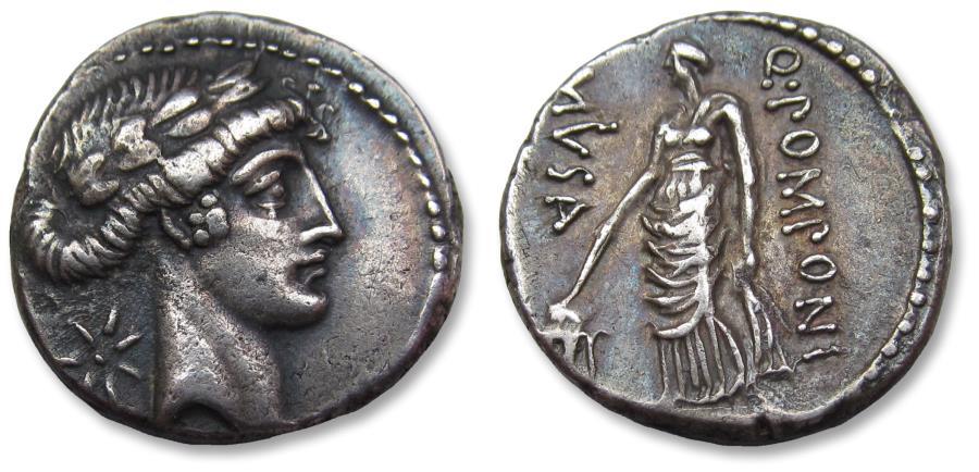 Ancient Coins - AR denarius Q. Pomponius Musa, Rome 66 B.C. - Urania, the Muse of Astronomy -
