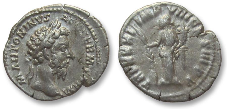 Ancient Coins - AR denarius Marcus Aurelius, Rome 177 A.D. -- Hilaritas standing left --