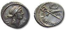 Ancient Coins - AR denarius Q. Sicinius, Rome 49 B.C. --sharp strike, great toning--