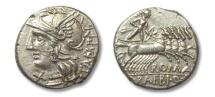 Ancient Coins - HS: AR denarius M. Baebius Q. f. Tampilus, Rome 137 B.C.