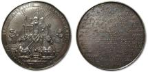 World Coins - RARE 60mm AR medal 1654 Netherlands: end of 1st Anglo-Dutch naval war, peace of Westminster