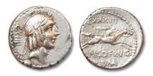 Ancient Coins - HS: AR denarius L. Calpurnius Piso L.f. Frugi, Rome 90 B.C.