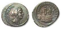 Ancient Coins - AR denanarius L. Mussidius Longus, Rome 42 B.C. --SUPERB, shrine of Venus Cloacina--