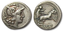AR denarius anonymous issue, Rome 157-156 B.C.