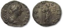 Ancient Coins - AR denarius Faustina II Junior, Rome 154-157 A.D.