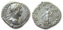 Ancient Coins - AR denarius Hadrian / Hadrianus, Rome 119-122 A.D. -- Fortuna standing left --