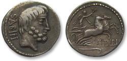 Ancient Coins - AR Denarius - L. Titurius L.f. Sabinus, Rome 89 B.C - complete strike on both sides, beautifully centered -  -