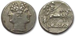 Ancient Coins - AR didrachm / quadrigatus Anonymous issue, pre-denarius time, Rome 225-214 B.C.